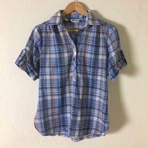 Tops - Vintage 1970s Blue Plaid Button Up Shirt